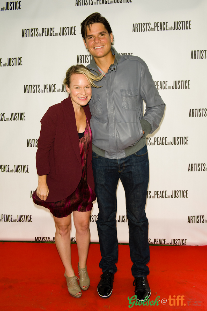 With Milos Raonic at Artists for Peace and Justice, TIFF. Wearing Alice & Olivia dress; Wilfred blazer; Jil Sander shoes. Photo: Kevin Gonsalves.