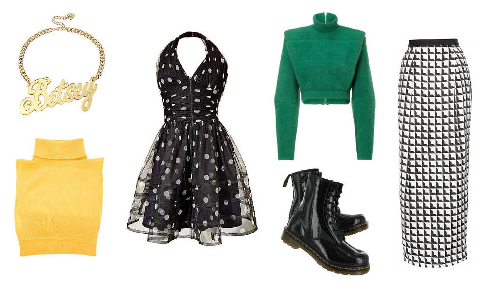 Betsey Johnson  necklace  &  dress  |  Lanvin  pullover |  By Malene Birger  skirt |  Dr. Martens  boots |  Cedric Charlier  bib sweater