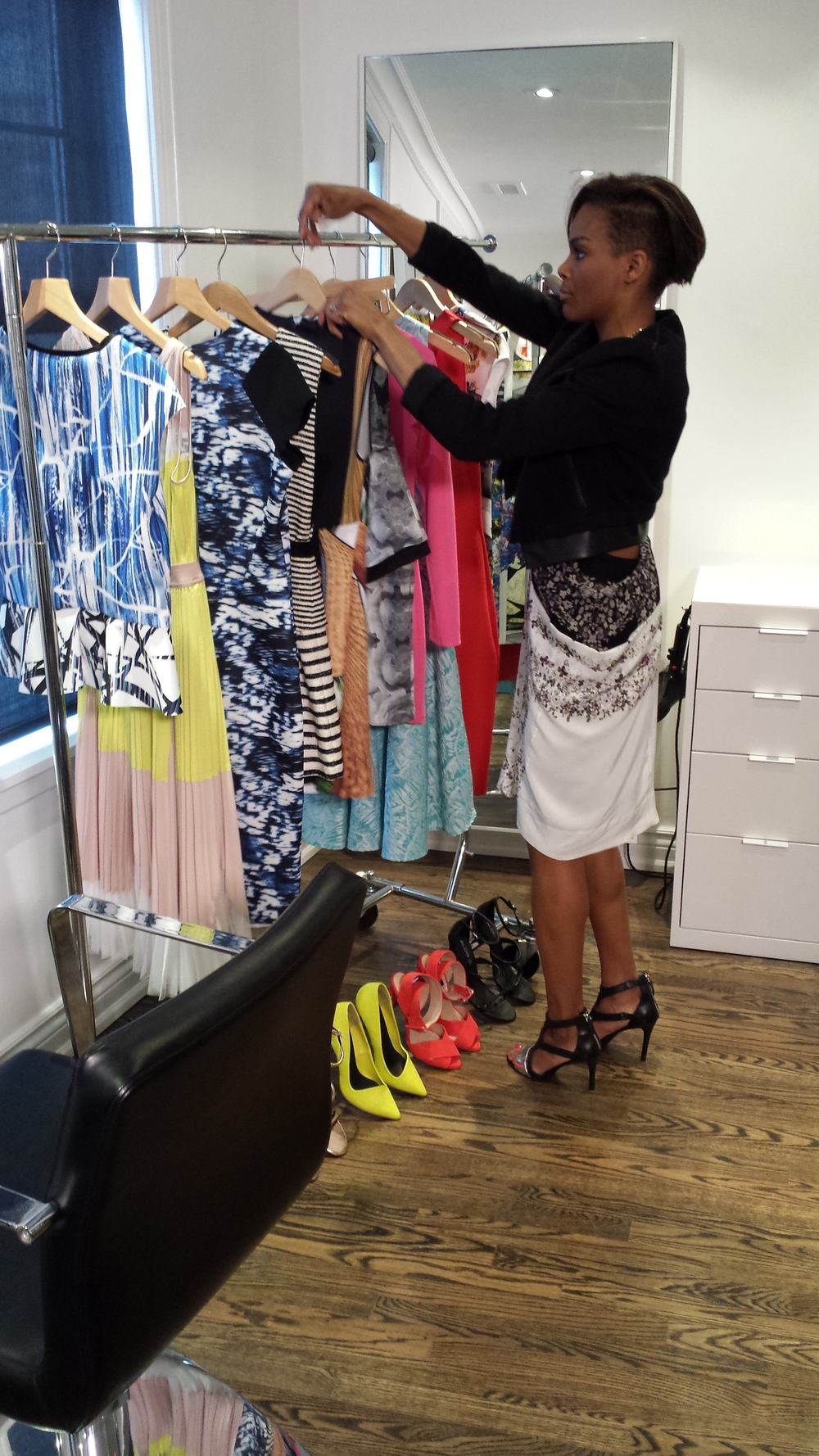 Sorting through the selects for our final looks. Wearing BCBG Max Azria