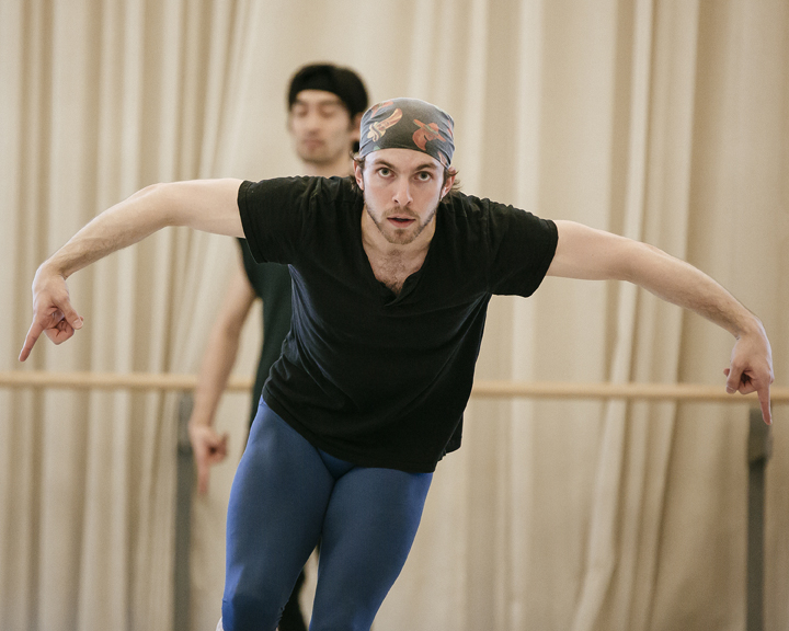 Dylan Tedaldi in rehearsal for   Spectre de la Rose  . Photo, Jeremy Mimnagh.