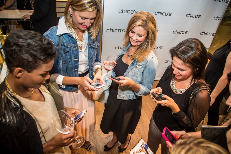 With fellow bloggers (l to r) – Falling in Style,Ava Grace Close, Noelle from Chico's, Real Life Runway,Lena Live Love Laugh. Doing what we do. Photo: J.D Vaillancourt Inc