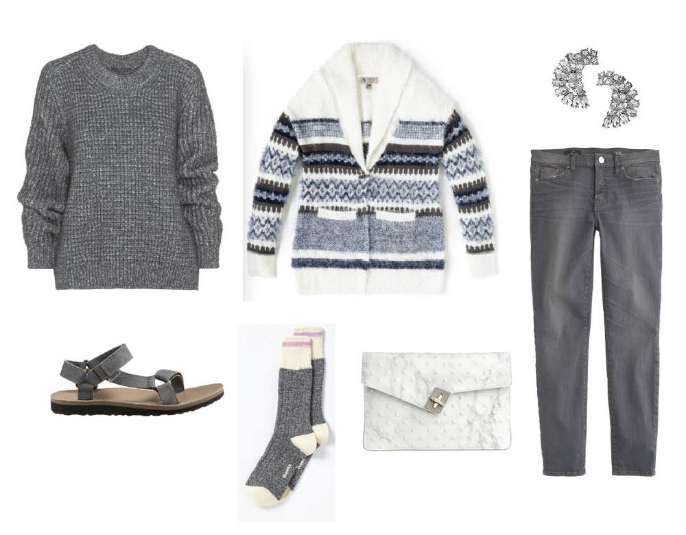 Belstaff sweater |Nevada cardigan |Banana Republic earrings |Ela Handbags clutch | Roots socks | Teva Original sandals
