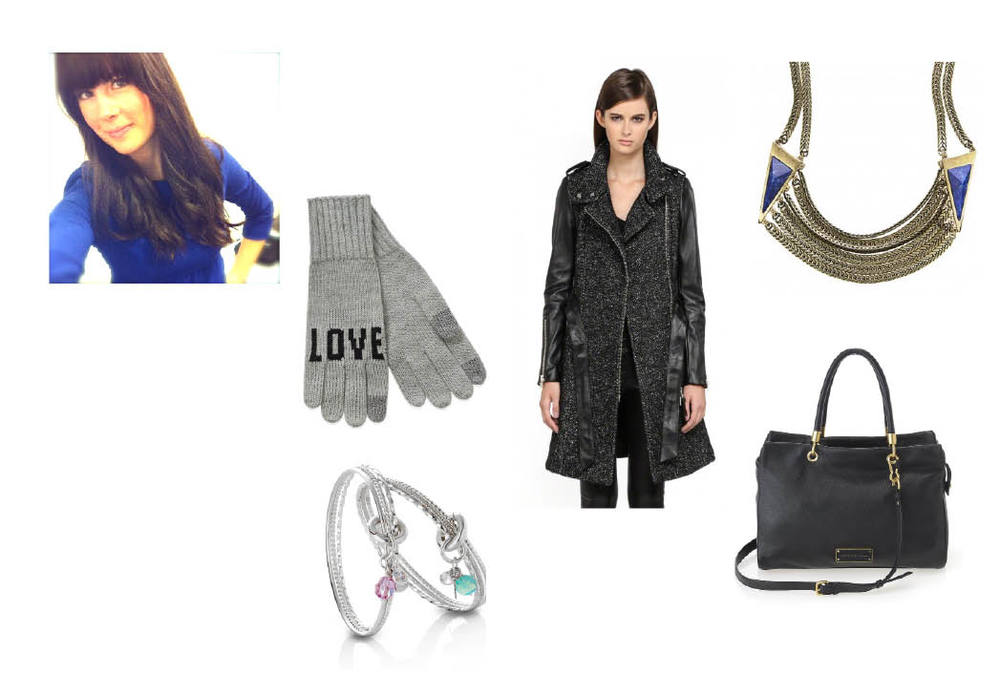 "La Notte ""Nicoli"" Gloves  $22 at Aritzia.     Mackage Wool Trench with Leather Sleeves  $750.    Jenny Bird ""Frida"" Collar  $150.   Marc Jacobs ""Too Hot To Handle"" Tote  $528.    Erin Tracy Charm Bangle  $140."