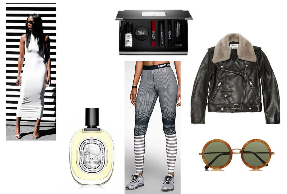 Makeup Forever Beauty Kit  $30.   Acne Shearling Trimmed Leather Biker Jacket  $1950 at Net-a-Porter   The Row Round Frame Acetate Sunnies  $445 at Net-a-Porter.   Nike Hyperwarm Engineered Tight  $70.   Diptyque Eau Duelle Perfume  $125.