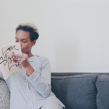 Reading Garance Doré's 'Love Style Life' in a Lusomé pyjama set