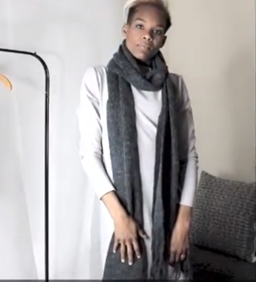 Club Monaco scarf | Oak + Fort dress