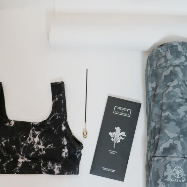 Karma Athletics athletic bra | Province Apothecary incense | Gaiam yoga bag