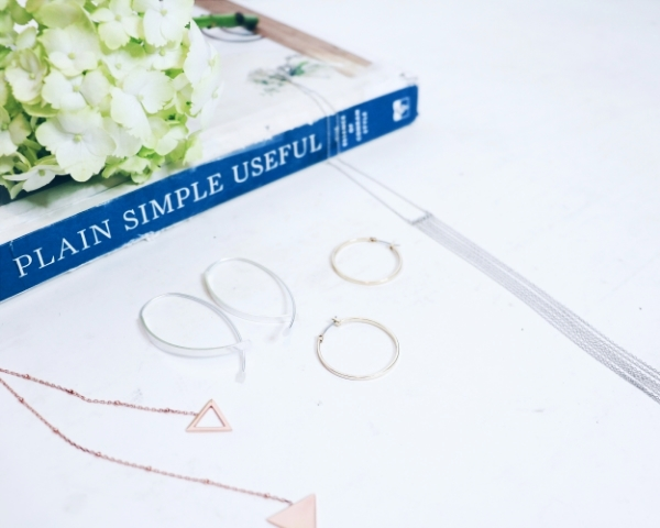 DK Jewellery  necklace & silver earrings |  LOFT  hoop earrings |  DK Jewellery  fringe necklace alongside my well-loved copy of Terence Conran's  Plain Simple Useful.