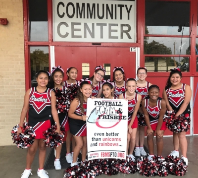 FBMS Cheerleaders help support the Football, Foam & Frisbee Fundraiser