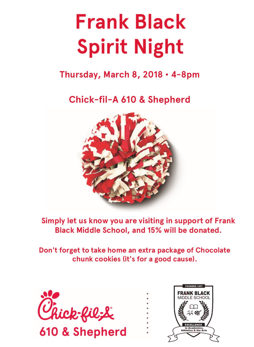 Spirit Night - Come be a part of Spirit Night this Thursday, March 8th from 4pm-8pm at Chick-fil-A on 610/Shepherd. Hope to see you there!!!