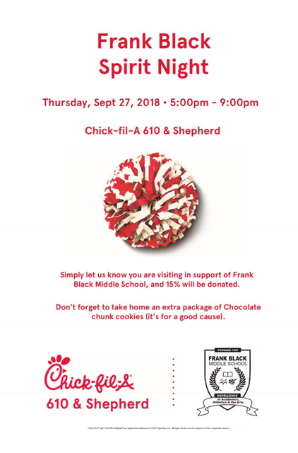 Spirit Night - Come be a part of Spirit Night thisThursday, September 27th from 5pm-9pm at Chick-fil-A on 610/Shepherd. Hope to see you there!!!