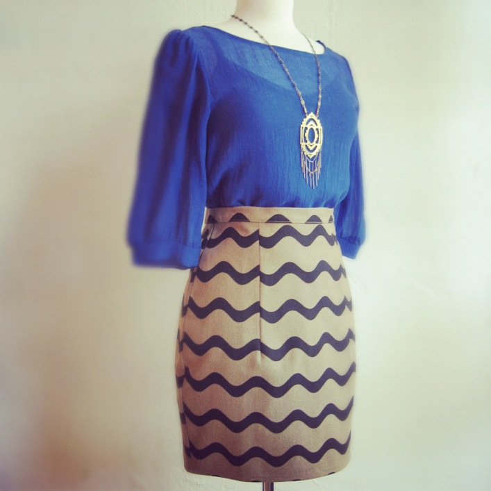Popomomo cupro chiffon blouse $134, Dusen Dusen waves skirt $102, Nikki Jacoby Persei necklace $150.