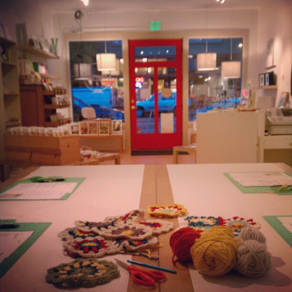 View from the back, ready for a crochet class!  Assemble, 7406 Greenwood Avenue N.