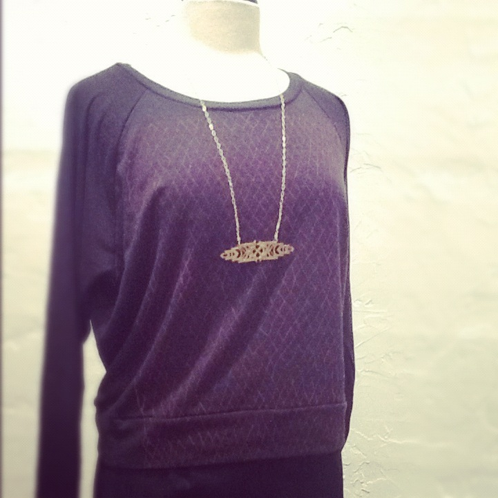 Supermaggie Fishnet Pullover $44, Nikki Jacoby Necklace $150