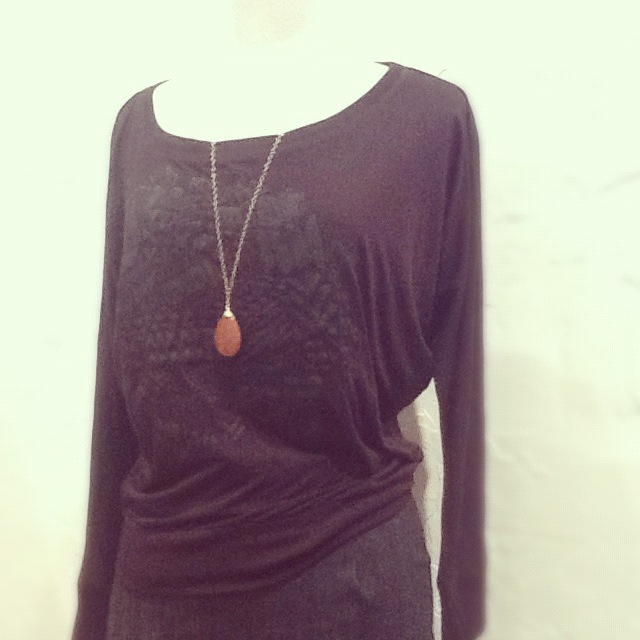Slow Loris Pullover $42, Agapantha Necklace $68