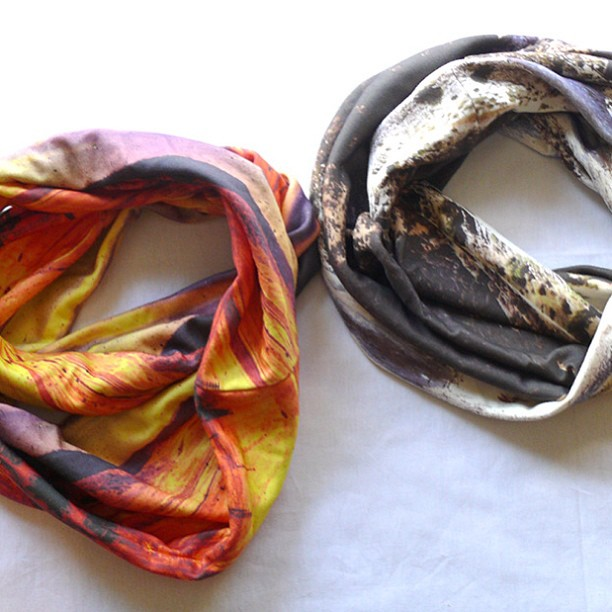 Digitally printed jersey knit circle scarves by Jessalin Beutler