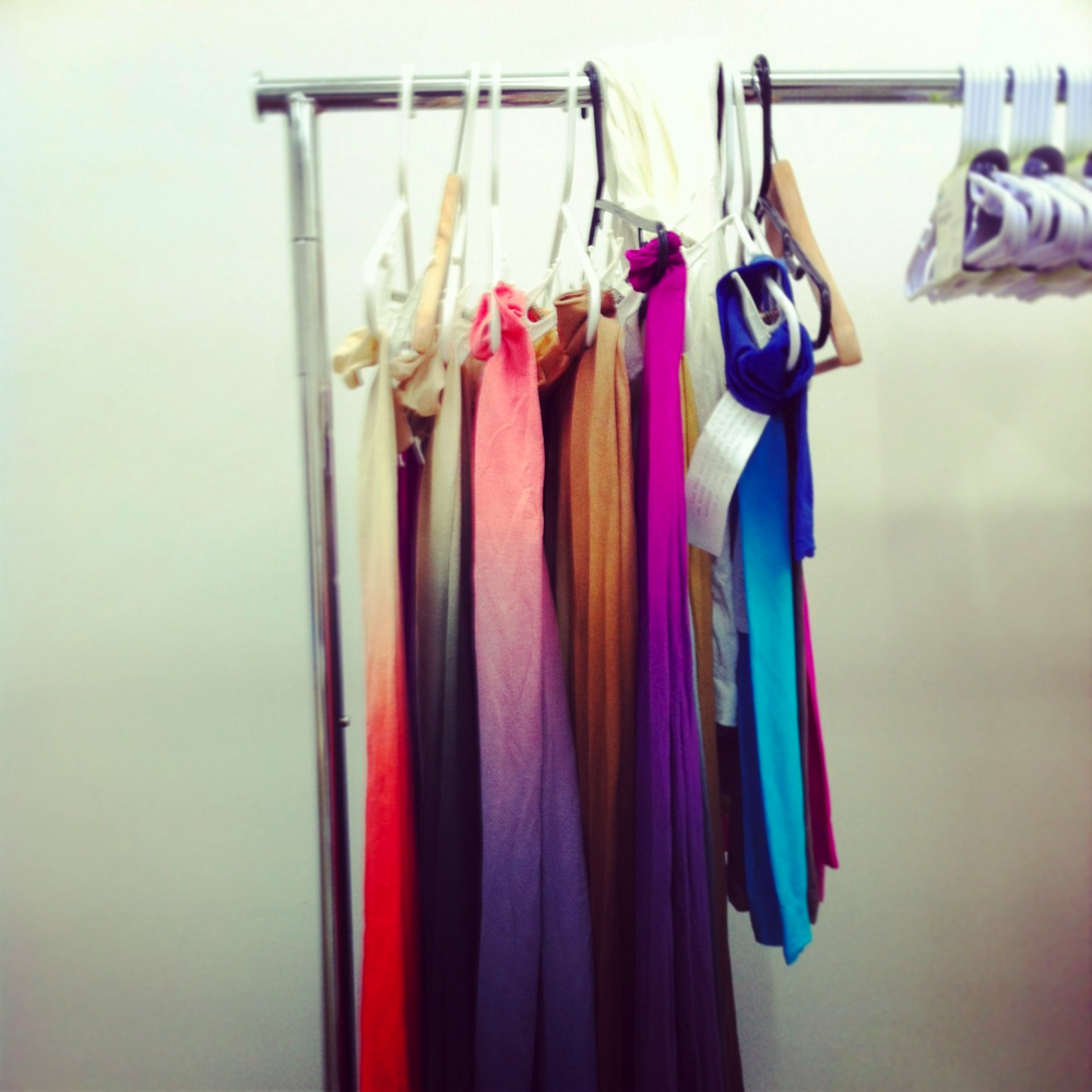BZR's ombre tights, drying on the rack in their Seattle studio.