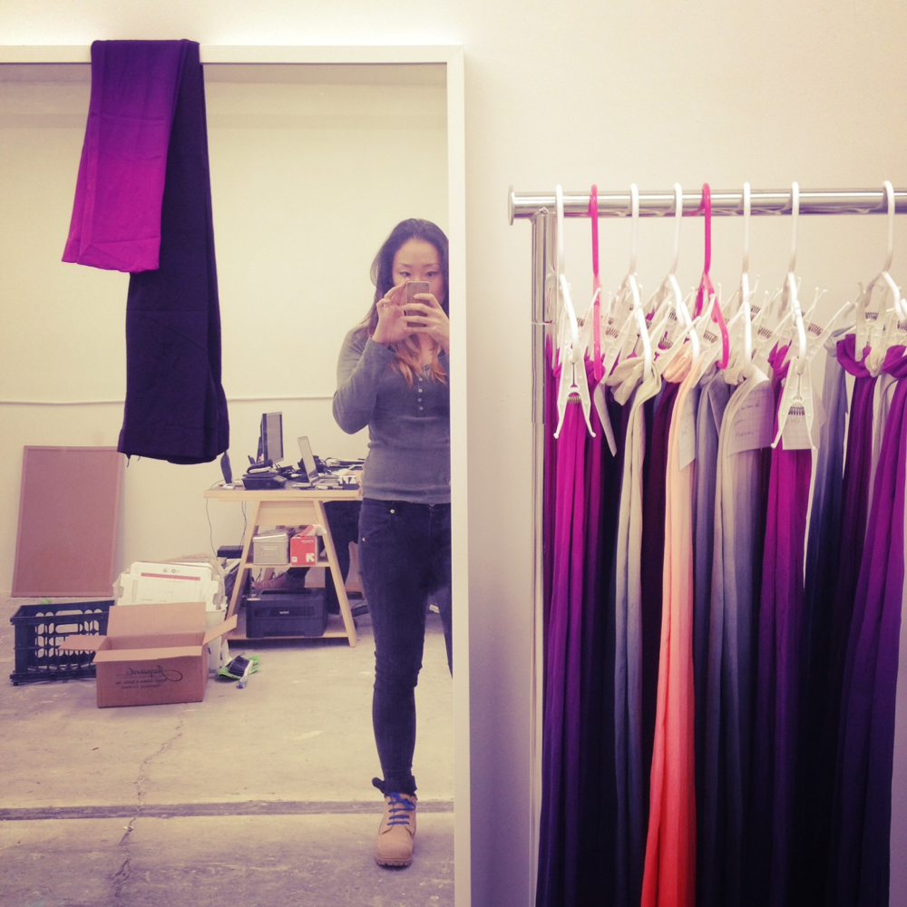 Tiffany, the lady behind BZR tights, in her Seattle studio.