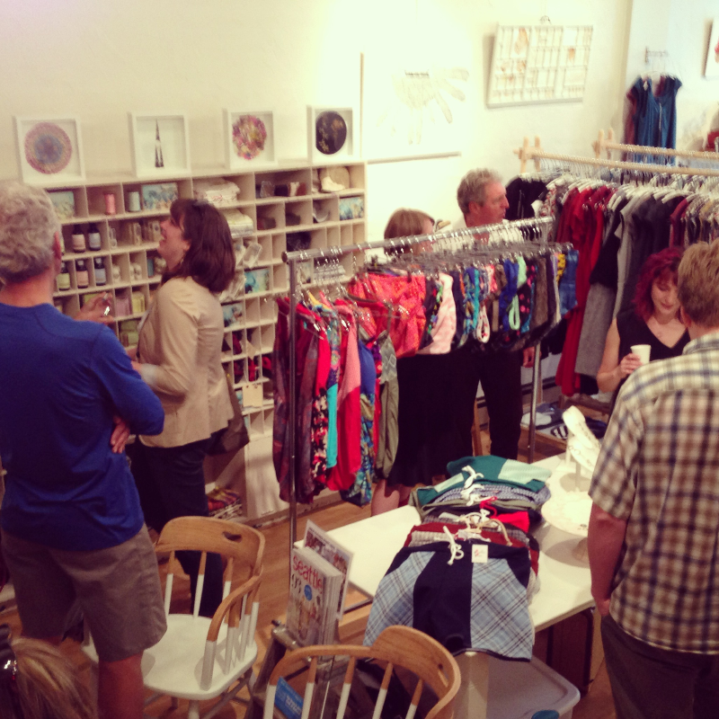 Meanwhile, shoppers and friends filled the shop and the dressing rooms!