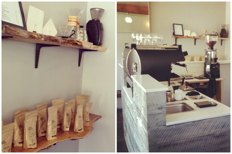 left: A selection of Slate Coffee Beans and coffee brewing equipment available for purchase. right: A La Marzocco calls the shots.