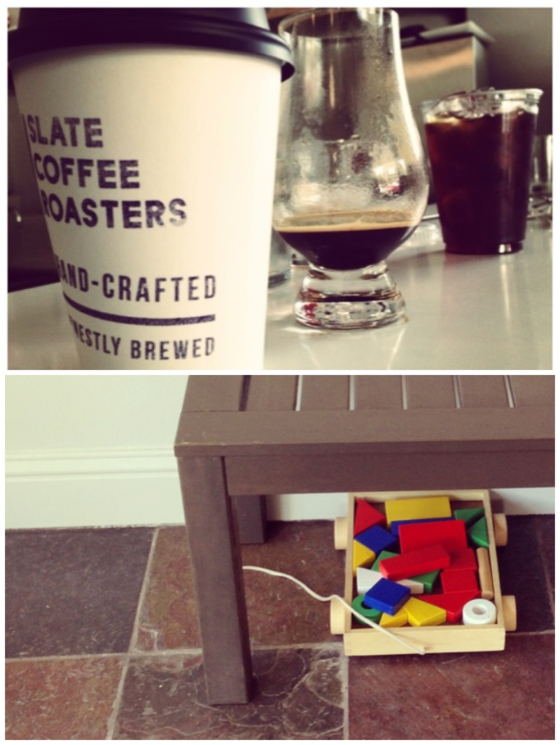 above: A latte, a spare shot, and one smooth cup of iced coffee. below: a sweet indicator that all are welcome at Slate.