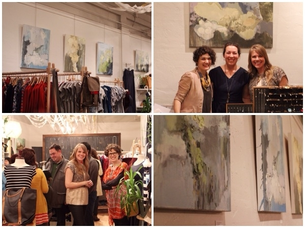 Clockwise from top left: Drie Chapek's colorful & moody oil paintings suit the season, Cat, Chika, & Drie pose beneath a favorite, Textures & drips, Drie was the happy host to fans and friends.