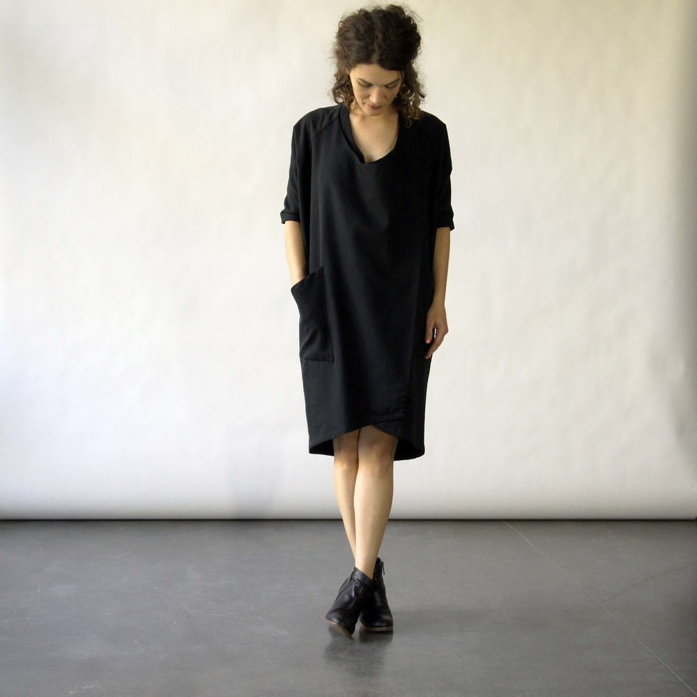 Pair with tights and boots, booties or heels.  Wear a black slip underneath--this is a loose-fitting wrap dress.
