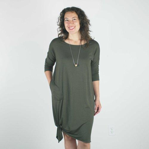 Odette Dress In Olive Velouria