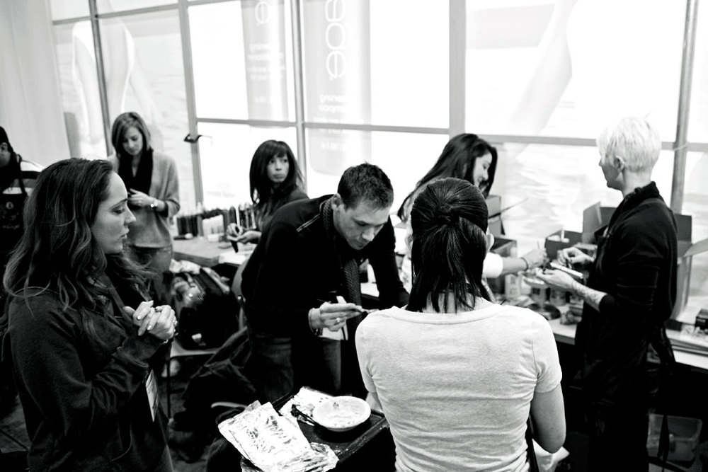 Another part of our team spends an entire day coloring and blow drying our models.  The blow dry style is extremely important as the models will get multiple styles over the next three days with no washes in between.  Learning this at my first ever Aquage hair show sold me on the product.  The products can be built up and broken down over and over again with no grease, flakes, or buildup.