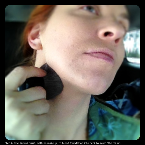 "Step 6: Use Kabuki Brush, with no makeup, to blend foundation into neck to avoid ""the mask""."