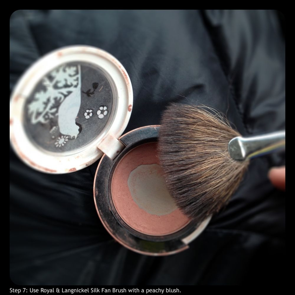 Step 7: Use Royal & Langickel Silk Fan Brush with a peachy blush