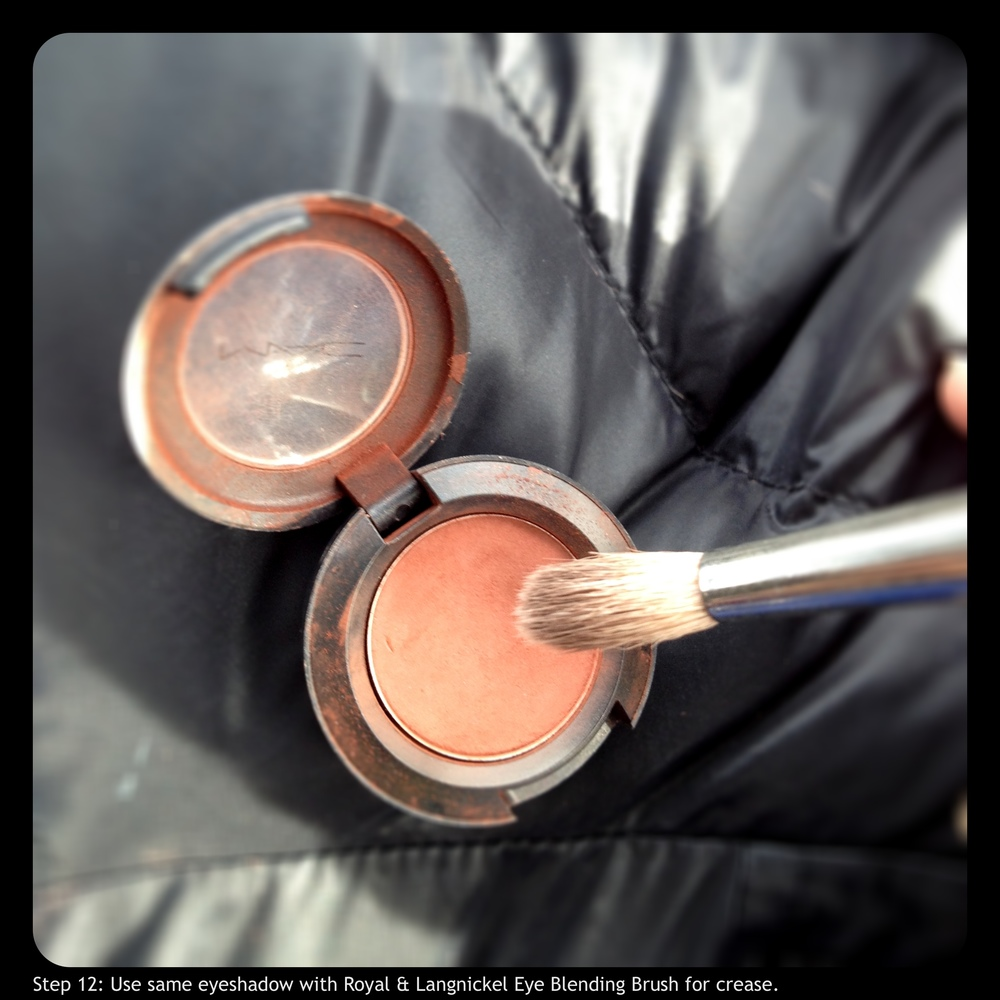 Step 12: Use same eyeshadow with Royal & Langnickel Eye Blending Brush for crease.