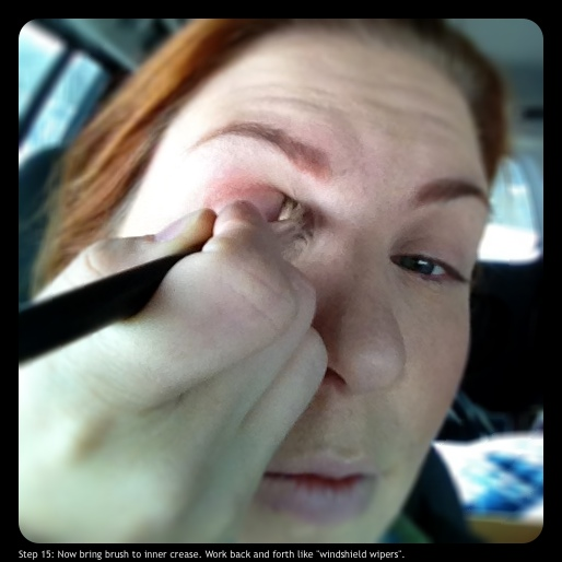 "Step 15: Now bring brush to inner crease.  Work back and forth like ""windshield wipers."""