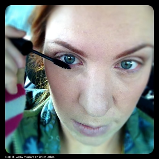 Step 18: Apply mascara on lower lashes.