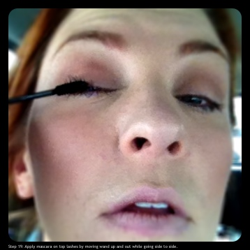 Step 19: Apply mascara on top lashes by moving wand up and out, while going side to side.