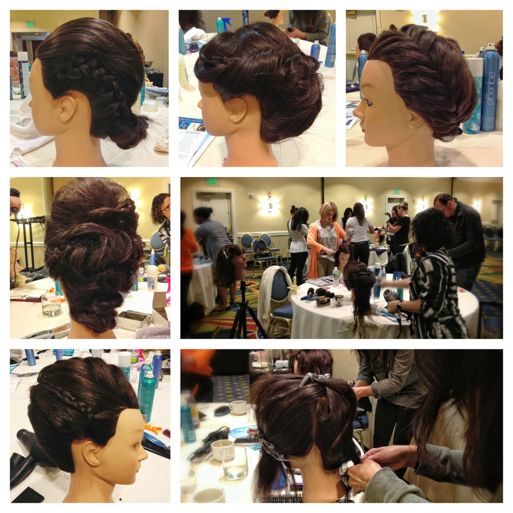 Updos created by stylists at the hands-on class.