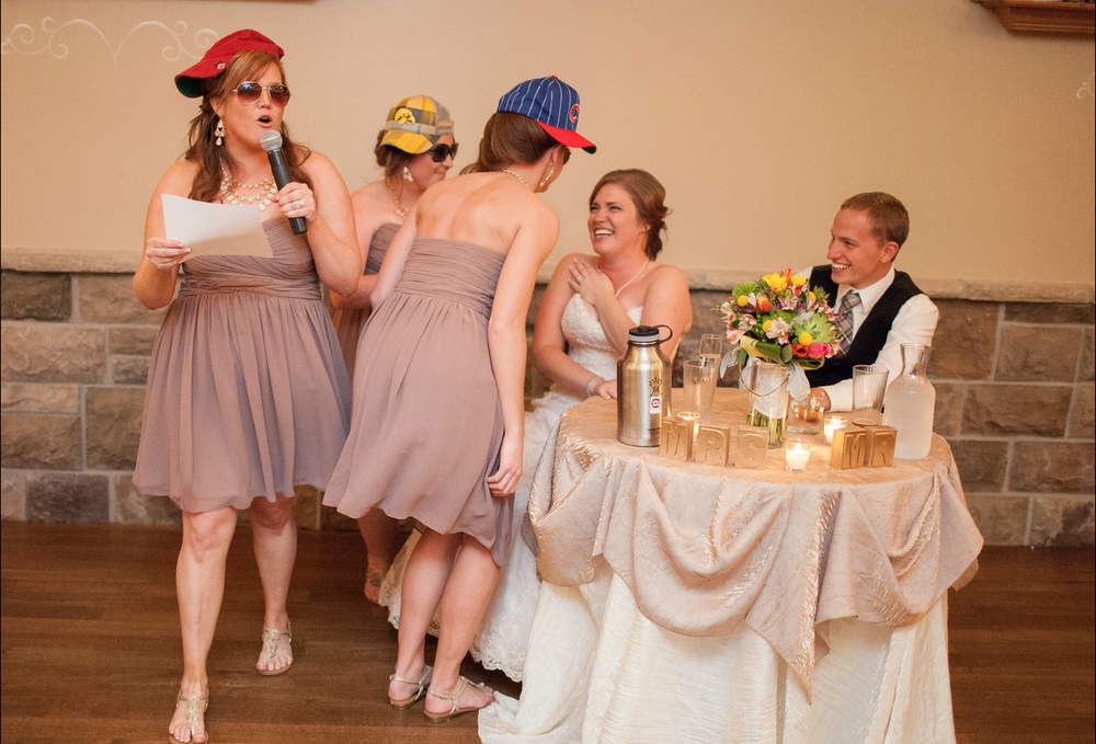 And to close it off, an epic rap written by sister-of-bride Sara and performed by all the bridesmaids.  Sad to say I missed this but glad Cassie captured it!!