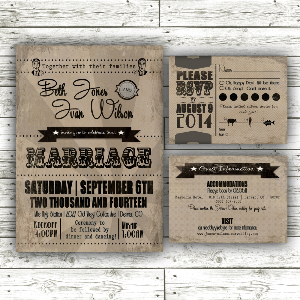 retro wedding invitation suite, digital download.  purchase  here .