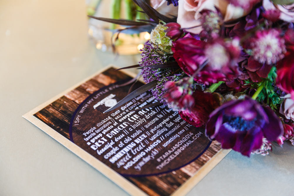 "(custom designed and made ""I Spy"" cards for the wedding reception.  {photography by   Marcus Edwards  }"