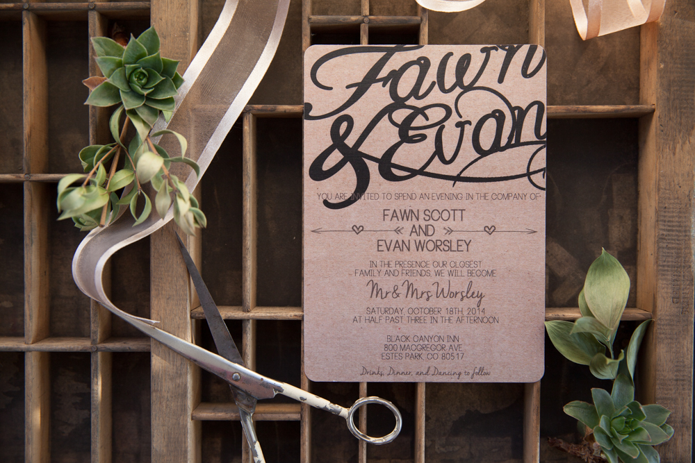 custom made invitation suite with hand lettered addresses {photography by Marcus Edwards}