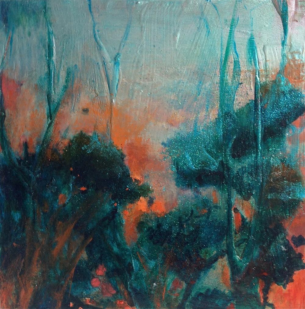 """Waiheke Sunrise"" by Ellen Johansen  Acrylic, mixed media on board"