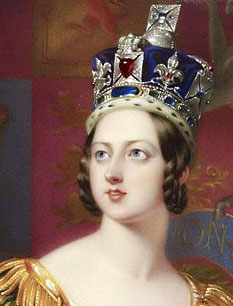 "The famous ""Black Prince's Ruby"" shown here worn by Queen Victoria for her coronation is actually a red spinel. Spinel and ruby have historically often been confused."