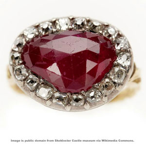 Example of a ruby ring from the Age of Greatness of Sweden. Public domain photo from Skokloster Castle via Wikimedia Commons.