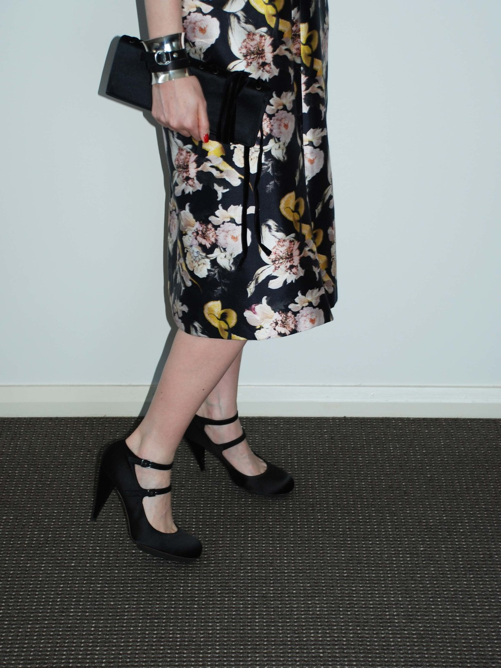 Ellery Dartagnan Dress with A-Line Skirt (Myer, $950AUD), Yves Saint Laurent Vintage Clutch (Ebay), Lanvin Shoes, Georg Jensen Cuff