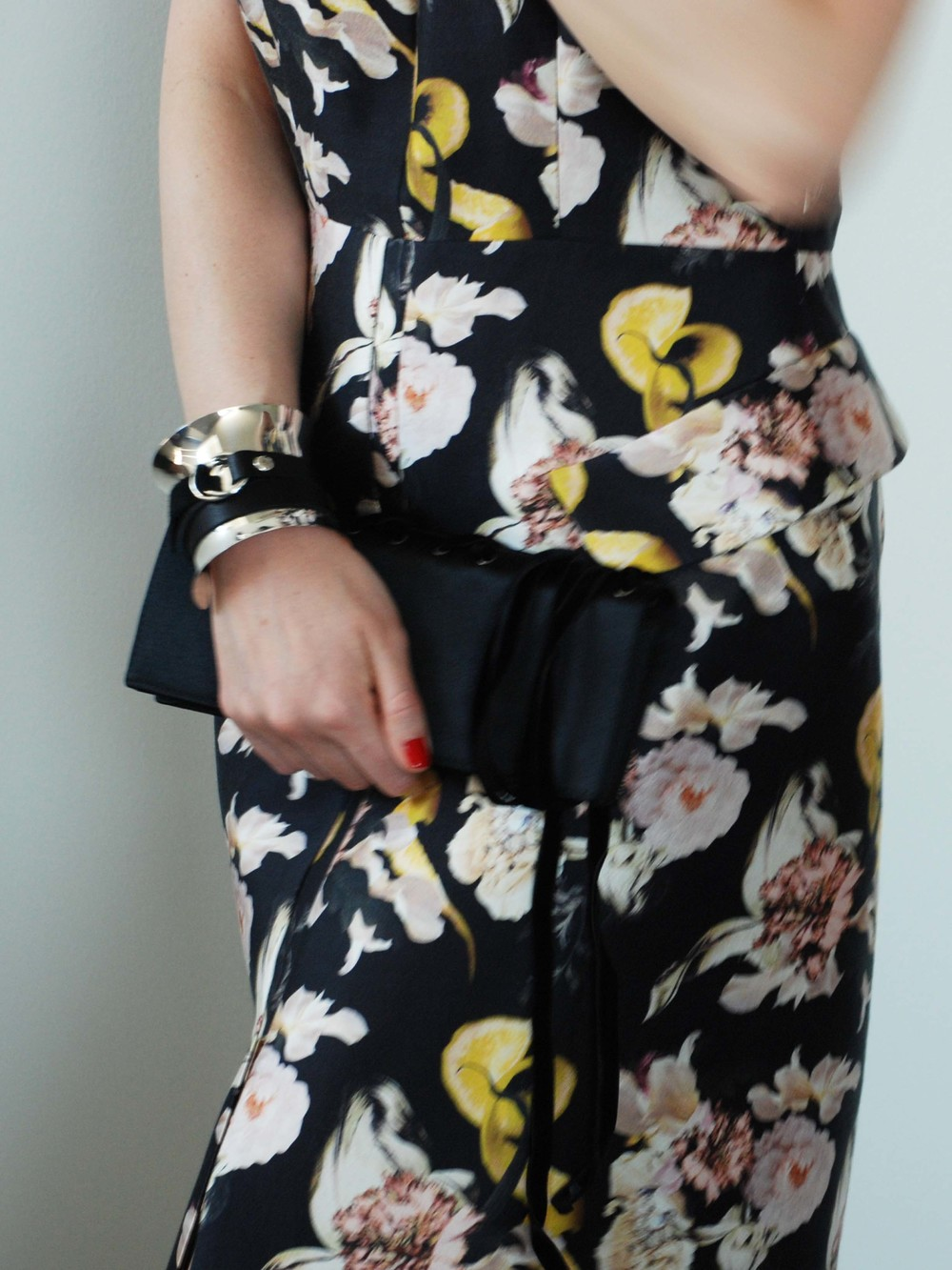 Ellery Dartagnan Dress with A-Line Skirt (Myer, $950AUD), Yves Saint Laurent Vintage Clutch (Ebay), Georg Jensen Cuff