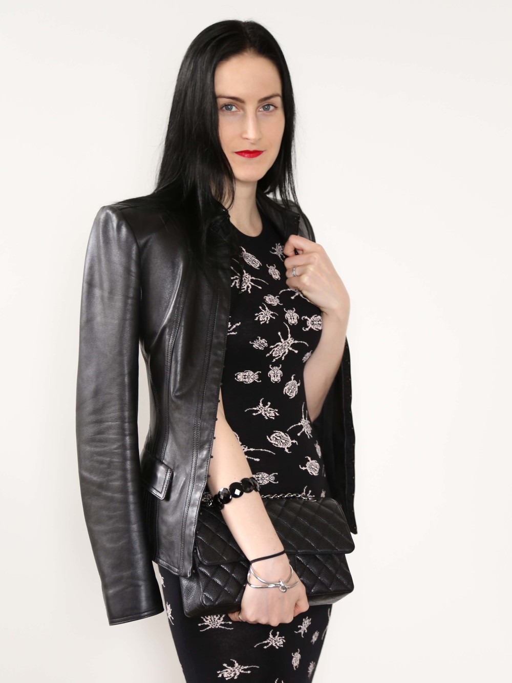 McQ Insect Print Dress, Burberry Prorsum Leather Jacket, Chanel Bag, Silver Knot Cuff, Onyx Bracelet