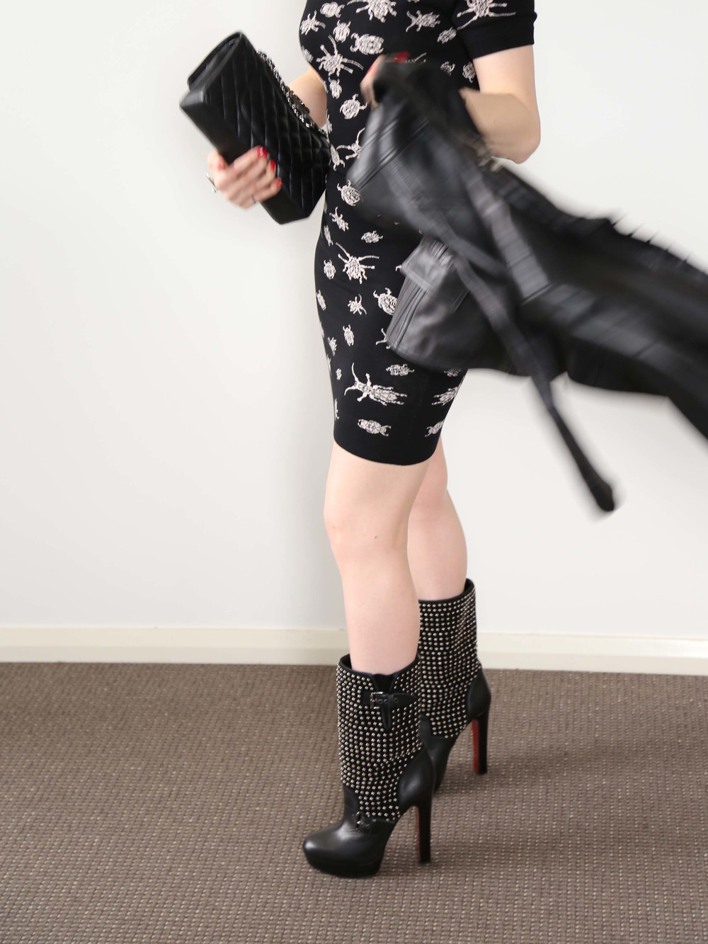McQ Insect Print Dress, Burberry Prorsum Leather Jacket, Chanel Bag, Silver Knot Cuff, Onyx Bracelet, Louboutin Studded Boots