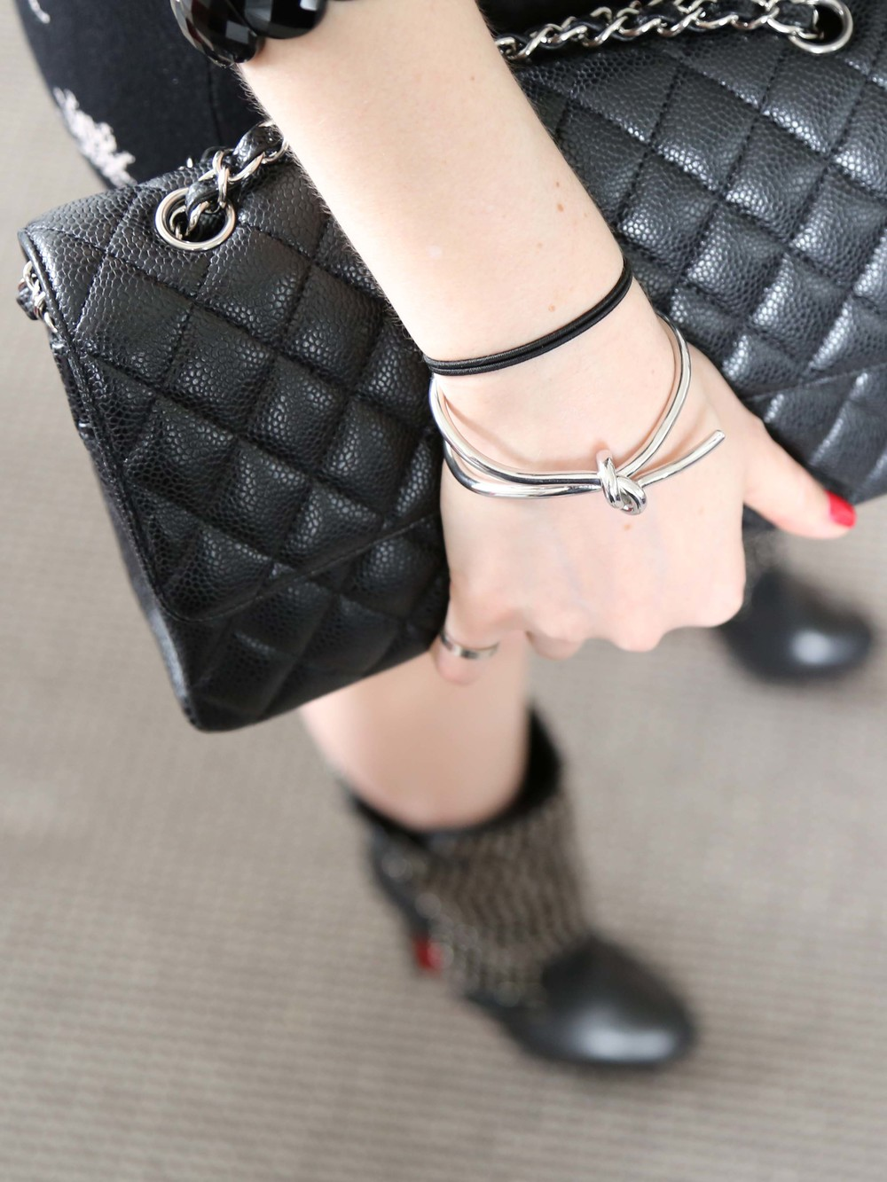 McQ Insect Print Dress, Chanel Bag, Silver Knot Cuff, Onyx Bracelet, Louboutin Studded Boots
