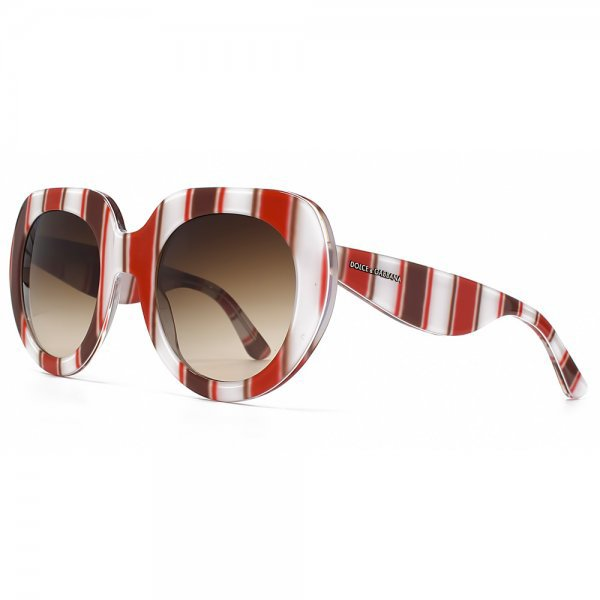 Dolce & Gabbana Oversize Stripe Sunglasses in Red Brown White Stripe, RedHotSunglasses, approx $169.55AUD