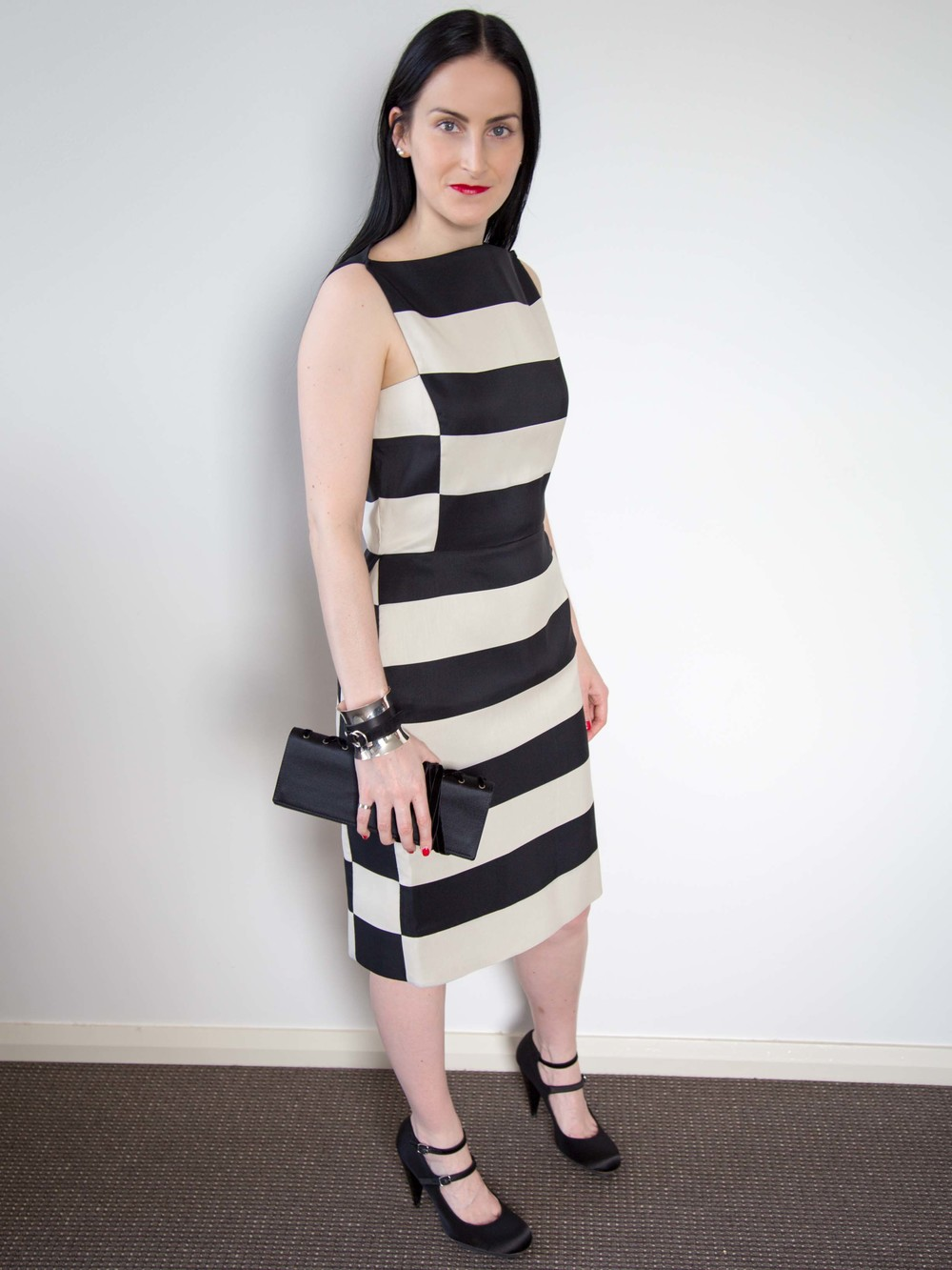 Lanvin Striped Dress, Georg Jensen Cuff, Yves Saint Laurent Vintage Clutch, Lanvin Silk Satin Heels